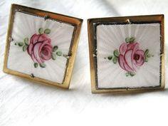 Vintage signed Coro guilloche enamel rose by TreasureBoxAntiqueUS