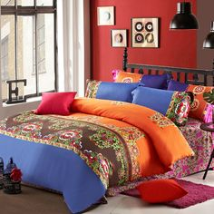 Orange Blue and Brown Tribal Print Indian Style Modern Chic Softest 100% Egyptian Cotton Full, Queen Size Bedding Sets - EnjoyBedding.com