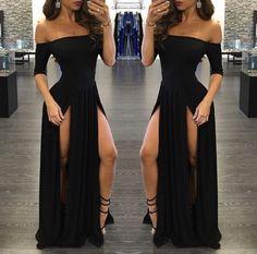 Shevny Sexy Chiffon Off-the-shoulder Split Half-Sleeve Black Prom Dress