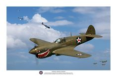 Pacific Victory Roll - Warhawk P-40 Aviation Art - Zeroes Zeros Zeros - USAAC P-40s over Darwin.