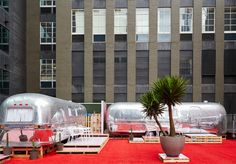 Six Airstream caravans hoisted on a Flinders Lane rooftop. Melbourne's out-Melbourned itself with this new boutique hotel. Airstream Caravans, Rooftop, Melbourne, Sky, Boutique, Glass, Design, Heaven, Drinkware
