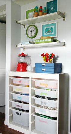 lego organization - use Ikea step bins already have IHeart Organizing: Our Playroom Reveal!