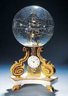 Is this not THE COOLEST CLOCK EVER? I wouldn't be able to take my eyes off of it! Table Clock With Planetarium. The planetarium clock is an absolute work of art. It was made in 1770 in Paris. Objets Antiques, Antique Clocks, 3d Prints, Objet D'art, Constellations, Snow Globes, Artwork, Paris France, Design Ideas