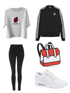 """""""Adidas"""" by madddgalriri ❤ liked on Polyvore featuring Topshop, adidas Originals and NIKE"""