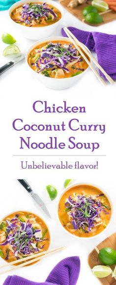 Chicken Coconut Curry Noodle Soup recipe - Asian Soup via @foxvalleyfoodie