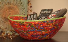 Fabric Rope Coiled Basket: Holiday Multi-Colored Rainbow Festive Carnival Metallic Gold Metallic Florescent Green Silver- Round by HandMadeBySandraM on Etsy