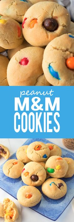Peanut M&M Cookies - Big, soft and chewy these cookies are bursting with lots and lots of peanut M&M's! Super quick and easy to make!! | almondtozest.com