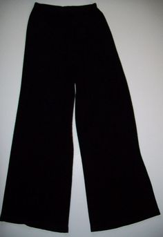 "SOLD!! CHICO'S TRAVELERS 1 Tall Black Slinky Knit Pants S 8/10 Wide Leg 28"" - 42"" Waist #Chicos #DressPants #BlackPants"