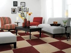 Small living room decorating ideas with red chess board tile floors