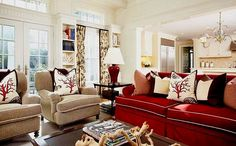 Living room red sofa decorating ideas red furniture decor furniture red and cream living room sofa sets decor living room ideas in Red Couch Living Room, Living Room Decor Colors, Coastal Living Rooms, New Living Room, Living Room Designs, Decor Room, Living Area, Villa Interior, Interior Design