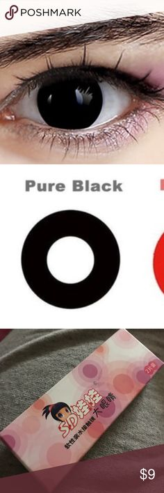 Pure Black Contacts Beauty Blooming Soon Halloween contact lenses for cosplay  The Color White color / Red color/Black color Base curve:8.6mm Diameter:14.2mm Phemfilcon: 40% 1.All lenses was yearly use. 2.All lenses only for eye color , Without diopter  Package included: 1 pair contact lenses 1 piece contact lenses case Makeup