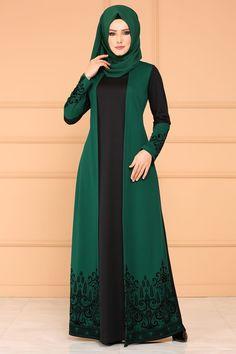 ELBİSE Flok Baskılı Elbise DNZ576 Zümrüt Abaya Fashion, Fashion Dresses, Hijab Gown, Hijab Niqab, Simple Long Dress, Estilo Abaya, Kebaya Wedding, Pakistani Designer Suits, Abaya Designs