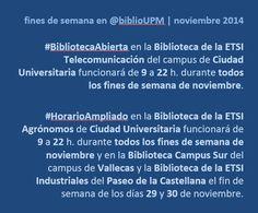 Horario ampliado bibliotecas UPM. noviembre-diciembre
