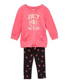 Look at this Juicy Couture Pink Logo Sweatshirt & Black Leggings - Infant, Toddler & Girls on #zulily today!