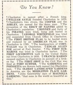 do you know... about charleston? Did you know that my family founded Charleston? You're welcome. (: