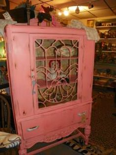 Cute pink china cabinet at Alley Stuff