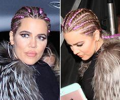 Khloe Kardashian Shows Off Cool New Purple Cornrows — Love Or Loathe HerLook? White Girl Cornrows, White Girl Braids, Purple Braids, Colored Braids, Girls Braids, Cornrow Hairstyles White, Mom Hairstyles, Khloe Kardashian Show, Pretty Braids