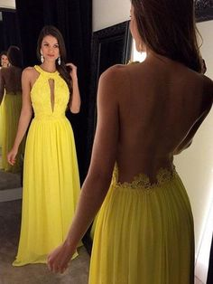 Prom Dresses Backless #PromDressesBackless, Prom Dresses Yellow #PromDressesYellow, Prom Dresses Chiffon #PromDressesChiffon, Prom Dresses 2018 #PromDresses2018, Custom Prom Dresses #CustomPromDresses