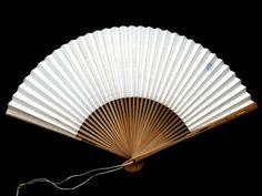 Japanese Hand Fan Silver Logo Trademark by VintageFromJapan #fan #fashion #Japan $9.5