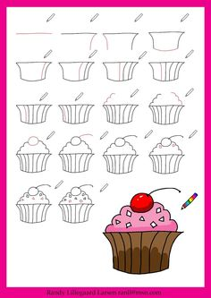 Learn to draw a cupcake using these step-by-step directions. Cute drawing idea for a Wayne Thiebaud lesson. Doodle Drawings, Easy Drawings, Doodle Art, Drawing Lessons, Drawing For Kids, Art For Kids, Arte Elemental, Art Handouts, 4th Grade Art