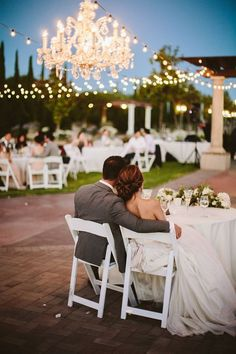 The outdoor reception venue from a real vineyard wedding at Mount Palomar Winery in Southern California Temecula Wine Country. The lights are strung up all through the plaza so your winery wedding will stay bright all night! #mountpalomarwinery