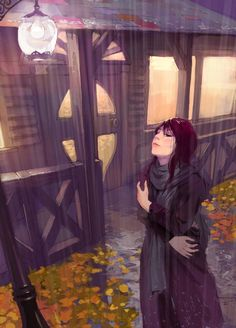 the picture is drew for my friend ,her article tells a story about a lovelorn girl in the rain in winter ,I hope her get out of sadness and get better q. girl in rain Art And Illustration, Illustrations, Girl In Rain, Images Kawaii, Rain Art, Anime Scenery, Anime Comics, Anime Art Girl, Storyboard