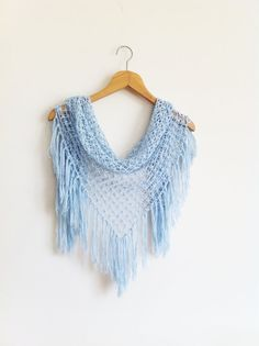 Crochet Scarf / Blue Shawl / Turkish Pashmina by Fashionscarf