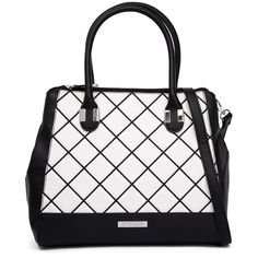 Kardashian Kollection 3479 Black/White Tote ($60) ❤ liked on Polyvore featuring bags, handbags, tote bags, pocket tote bag, black and white tote bag, quilted purse, zip top tote bag and faux-leather handbags