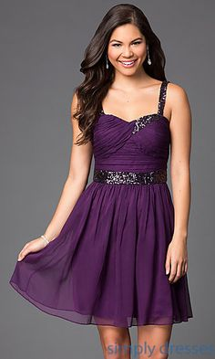 Shop Simply Dresses for short inexpensive sleeveless party dresses in purple. Cheap purple party dresses and short ruched prom dresses in purple.