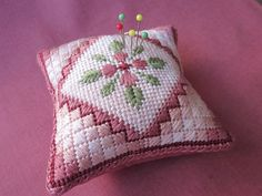Needlepoint Pincushion Pattern with Flower and Cushion Stitch design