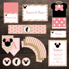 Minnie Mouse Party Printables Minnie Mouse Party, Mouse Parties, Drink Labels, Bunting Flags, Cupcake Wrappers, Party In A Box, Thank You Tags, Table Cards, Party Printables