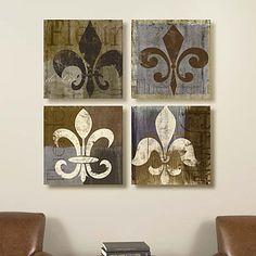 Set of 4 16 x 16 Fleur de Lis Canvas Prints Diy Wall Art, Diy Art, Wall Decor, Diy Fleur, Stencil, Arts And Crafts, Diy Crafts, Decoupage, Diy Décoration