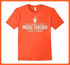 Mens Scary Music Teacher Shirt Funny Halloween Costume Tee Medium Orange - Careers professions shirts (*Partner-Link)