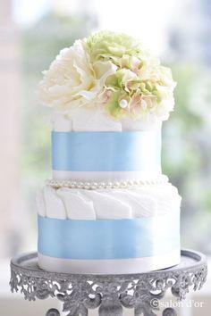 dipaer cake,nappy cake,elegant,blue,おむつケーキ、ダイパーケーキ,peony
