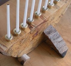 Hanukkah Wood Menorah Spalted Maple and Birch by GrowGallery
