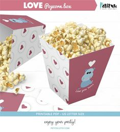 Printable popcorn box for Valentines Day #bypetitxu #printables #popcornbox #partyprintable #valentines #etsyshop Pop Corn Box, Favor Boxes, Popcorn, Valentines, Food, Favors, Candy Table, Valentine's Day Diy, Valantine Day