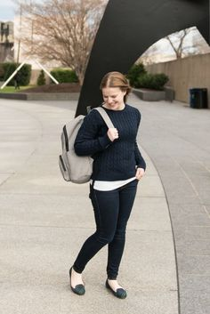 The Cable Knit Sweater | Something Good, women, fashion, winter outfits, fall style, jeggings, skinny jeans, AEO, american eagle outfitters, ll bean cable knit double l sweater, everlane backpack, tartan flats, fall outfits, shirt, clothes, fall fashion