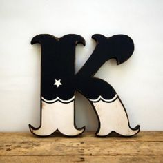 Retro Vintage Style Black and White Carnival Circus Style Wood Letter K Handmade