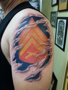 usmc rank ripped skin tattoo - Google Search