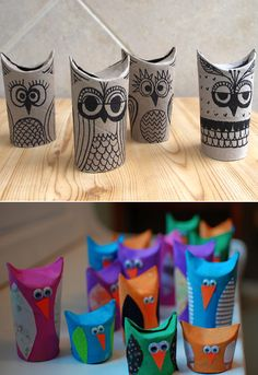 Make these cute owls out toilet paper rolls...use as little gift boxes or just for fun crafts with your kids