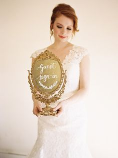 Elegant Bride with a Vintage Gold Mirror // Photography ~ Lara Lam