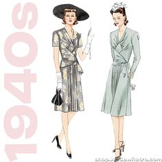 Out of print sewing pattern to make an A line dress with shaped bodice front. Love the 1940s? Find more 40s vintage reproductions and original 40s vintage here. Condition This is a contemporary reprod