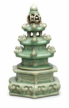 A very rare Longquan celadon pagoda-shaped censer, Ming dynasty (1368-1644)