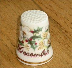 Royal Albert 'December' Bone China Thimble Holly Christmas Roses