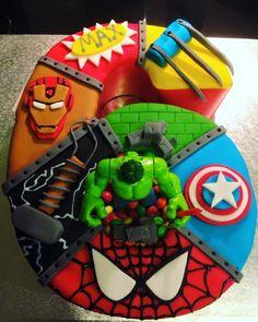 My version of all the lovely cakes I've pinned! My version of all the lovely cakes I've pinn Avengers Birthday Cakes, Superhero Birthday Cake, 9th Birthday, Superhero Party Decorations, Party Themes, Marvel Cake, Avenger Cake, Birthday Numbers, Themed Cakes