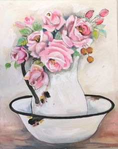 Roses by Wilma Potgieter Girls With Flowers, Pink Roses, Painting & Drawing, Flower Paintings, Canvas, Drawings, Paintings Of Flowers, Tela, Flower Pictures