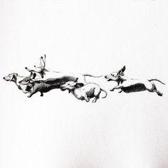 Running Dachshunds Print 11 X 17 by ThePaintedPeepShow on Etsy, $19.50 #dachshund