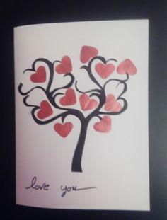 Tarjeta San Valentín árbol del amor con nespresso
