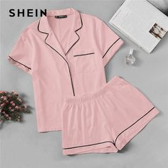 23147331a8 SHEIN Pink Contrast Piping Pocket Front Shirt Pajama Set Short Sleeve Lapel  Top With Elastic Waist Shorts Womens Two Piece Sets Review