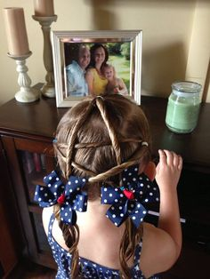 4th of July hair for little girls.... Not sure if I nailed this but I saw it on here and gave it a try :)